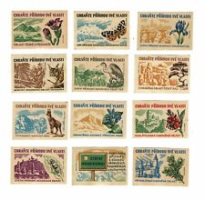 Set of 12 Old Czechoslovakia SOLO Match c 1960s matchbox labels Wild Life.