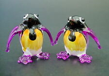 2 Tiny Glass PENGUINS Painted Glass Animals Pinky Purple Glass Ornaments Gift