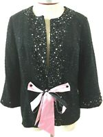 Victor Costa womens blazer Size S small NEW black sequins beads tie QVC