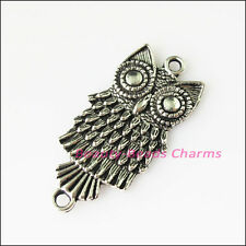 2Pcs Antiqued Silver Tone Animal Owl Birds Charms Pendants Connector 18.5x37.5mm