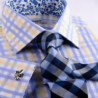 Blue Herringbone Stripe Business Dress Shirt Yellow Luxury Formal Stylish Design
