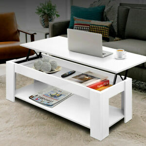 Modern Artiss Mechanical Lift Up Top Coffee Table  Interior Storage Shelf Desk