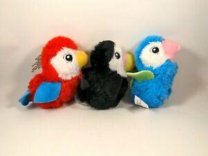 Three Fuzzy Friends Parrot Plush Toys Multicolor Birds Soft Stuffed Animals