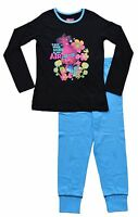 Trolls Movie Pyjamas Girls Dreamworks Long Pyjama Set PJ 3 to 10 Years Black/Blu