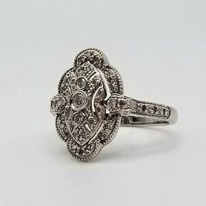 Affinity Diamond Ring 14K White Gold Size 9.5 Antique Art Deco Style