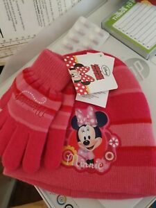 BNWT Next Pink Spotty Fleece Pull on Hat /& Mitts Set Age 7-10 yrs