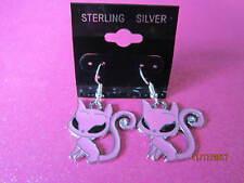 925 Sterling Silver Pink Cat Dangle Earrings