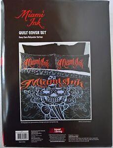 Miami Ink Daggermouth TATTOO  Skull Art DOONA QUILT DUVET COVER single