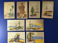 Set 8 Greetings YUCCA WOOD Vintage Postcards 1940's For Collectors Nice w Value