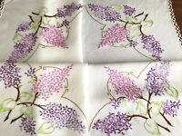 Vintage Hand Embroidered Cream Rayon LILAC FLOWERS Tablecloth 34X36 Inches