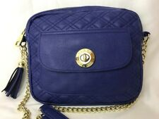 SteveMadden Royal Blue Purple Gold Chain Shoulder Bag Purse Quilted Faux Leather