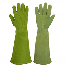 HANDLANDY Ladies Leather Gardening Gloves, Thorn Proof Long Gauntlet Heavy Duty