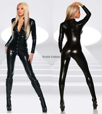 Sexy Black Women's Wet Look PVC Leather Body suit Harness Thong Clubwear Teddies