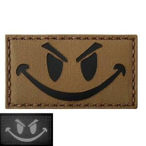 evil smiley infrared IR coyote brown arid tan morale tactical 3 laser hook patch