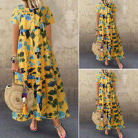 ZANZEA Womens Summer Short Sleeve Sundress Kaftan Long Maxi Floral Dress S-5XL