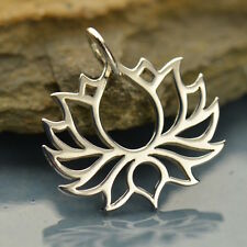 925 Pure Sterling Silver Yoga Jewelry Blooming Lotus Petals Charm Pendant 1475