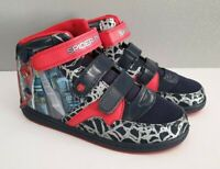 BNWT Older Boys Size 1 Spiderman Hi Top Hook And Loop Navy Red Sneaker Shoe