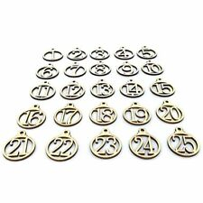 25pcs 1-25 Etiquettes-cadeaux en bois du calendrier de l'avent de Noel Nomb S7Q6