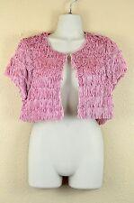 Shrug Bolero Jacket Wendy Hil Pink Fringe Cropped Cardigan 2 Dressy Fancy