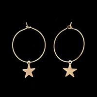 Star Charms Circles Small Loops Huggie Hoops Earrings For Women Jewelry Kids