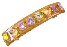 "Dichroic Hair Barrette 3.5"" 9cm Amber Green Pink Ripple Diamonds Fused Glass"