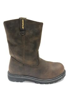 Caterpillar Men's Revolver, Brown Pull On Steel Toe Work Boots, Size 11M.