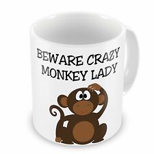 Beware Crazy Monkey Lady Novelty Gift Mug