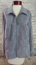 Christopher & Banks Gray Paisley Zip Up Jacket Women's Size 1X