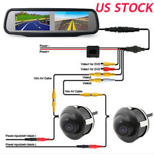 "HD 4.3"" Dual Screen Car Rear View Mirror Monitor 4 Channel+2x Camera Night View"