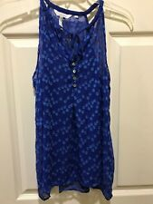 Anthropologie Zoa New York Blue Sheer Tank Size M Worn On Vampire Diaries