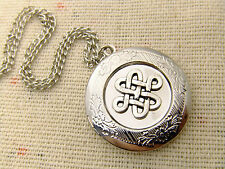 Antique Silver Plated Celtic Knot Locket Pendant jewelry Necklace