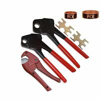 2 Crimping Pex Crimper Crimp Tools 1/2 & 3/4 50 Copper Rings GoNoGo Cutter Angle