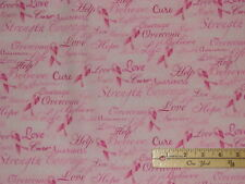 Pink Ribbon Breast Cancer Courage Cure Fabric  by the 1/2 Yard   #C7659