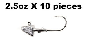 2.5oz Shad Head Jig on 7/0 Mustad Black Nickel Hook - 10 pieces