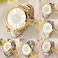 Women's Lady Floral Leather Band Round Dial Quartz Analog Wrist Watch Gift New