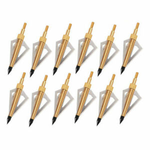 12/24X Arrowheads 3-Blade Broadheads 125Gr Archery Replacement for Arrows