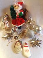 Christmas Ornament Lot Santa Springy Jingle Bell Metal Stars Variety Good Stuff