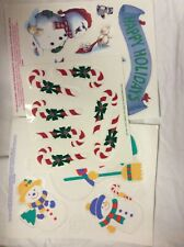 Christmas Vinyl Window Clings  3 sheets  New  Snowmen, Snow Flakes, Candy Canes