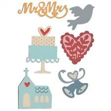NEW Sizzix Thinlits 661234 Wedding 6x metal dies Mr & Mrs Cake Church Bird Bells
