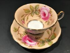 FOLEY Yellow Hand Painted Cabbage Rose Tea Cup & Saucer Signed by A Taylor V2955