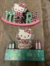 Hello Kitty Sanrio Table Decor Merry Christmas Holiday Wooden Glitter Sign - NWT