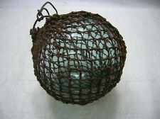 "Vintage Glass Fishing Float 9-10"" Natural Fibre ROPE NET Japanese Nautical"