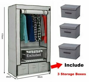 Fabric Canvas Wardrobe WITH 3 Drawers AND Clothes Hanging Rail STORAGE CUPBOARD
