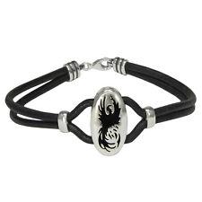 Sterling Silver Phoenix Alchemy Fire Bird Bracelet Genuine Leather Jewelry