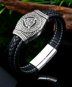 Viking Rune Vegvisir Odin Stainless Steel/Real Leather Magnetic Clasp Bracelet