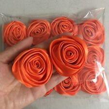 "24pc Orange 2"" Satin Ribbon Rose Flowers DIY Wedding Bridal Bouquet Decor 50mm"