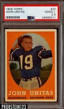 1958 Topps Football #22 John Johnny Unitas Baltimore Colts HOF PSA 2.5 Good+