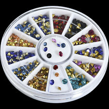 3Size 3D Nail Art Tips Mixed Gem Crystal Glitter Rhinestone DIY Decoration Wheel