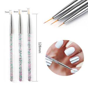 3pcs Nail Art Brush Line Drawing Pen Painting Liner Thin Brushes 7/9/11/15mm