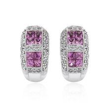 1.35 Carat Pink Sapphire & Diamond Huggy Earrings 14K White Gold